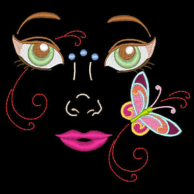 Flutter Fairy Faces - 20 Machine Embroidery Designs (Azeb)
