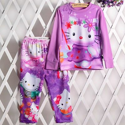 Kids Girls Long Sleeve Hooded Sweat Top+Pants Tracksuits Outfit & Sets 2-12years