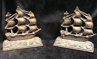 Pair Solid Bronze Ship Bookends A Galleon in the Time of Elizabeth 558-1603