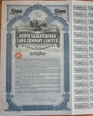 1911 Vertical Bond Certificate: 'North Saskatchewan Land Co., Limited.' - Canada