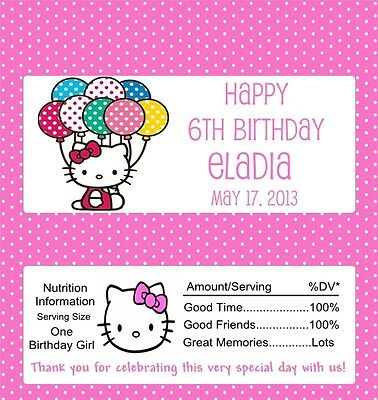 25 Personalized  Hello Kitty Birthday Candy Bar Wrappers