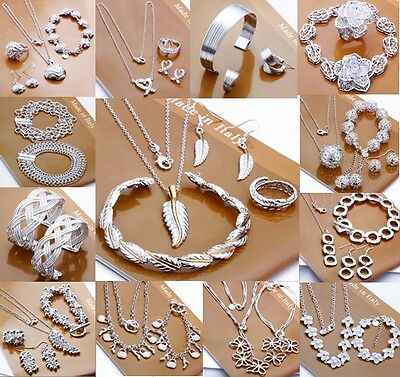 wholesale Fashion Jewelry Solid 925silver bracelet necklace Earrings Ringset+box