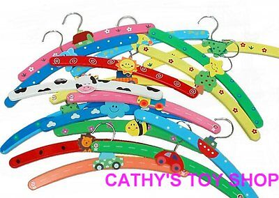 10pcs Wooden Wood Multi Coloured Childrens Baby Kids Coat Clothes Hangers NEW