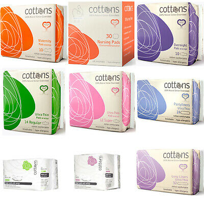 Cottons 100% Cotton Sanitary Pads with Wings Hypo-allergenic Sensitive Natural