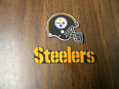 """Pittsburgh Steelers  Iron on Cotton Patch 3"""" x 1"""" & 1 3/4"""" x 1 1/2"""" NEW"""