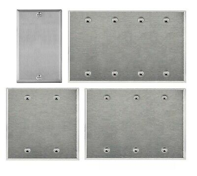 Brushed Finish Stainless Steel Blank Outlet Cover 1 2 3 4 Gang Wall Plate