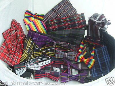 (New) TARTAN>Bow tie and Cummerbund Set-With OR Without Hankie>P&P 2UK>1st Class