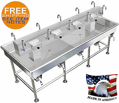 """HAND SINK ISLAND MULTI STATION 10 USERS WASH UP LAVABO 92""""x40"""" STAINLESS STEEL"""