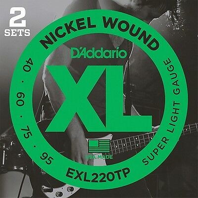 D'Addario EXL220TP Twin-Pack Bass Guitar Strings DAddario EXL 220 Super Light