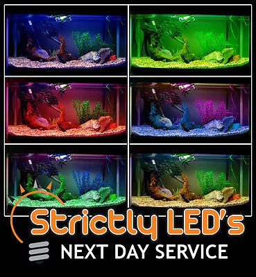 Colour Changing LED Aquarium Fish Tank Lighting Strip Lights Submersible 100cm • EUR 31,09
