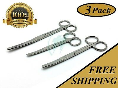 """3 Operating Scissors 4.5""""+5.5""""+6.5"""" Curved Blunt Blunt Surgical Instruments"""