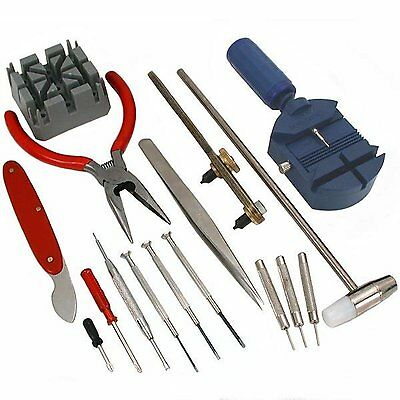 High Quality 16 Piece Watch Repair Tool Kit Set Pin & Back Remover - UK SELLER