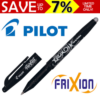 Pilot Frixion Roller Ball Pen Erasable BL-FR7-B Black 0.7 Friction Rubber Eraser