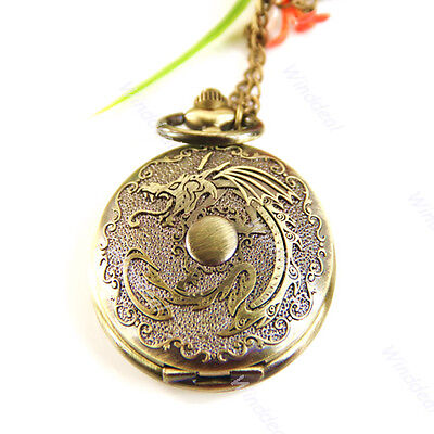 Bronze Vintage Chinese Style Dragon Pocket Watch Mens Gift Chain New