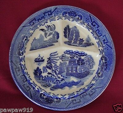 """Vintage Flow Blue Willow Grill Plate Made In Japan 10"""" Dia"""