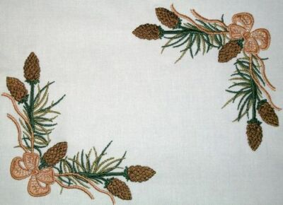 Pine Cone Embroidered Quilt Label Customize for quilt tops or blocks
