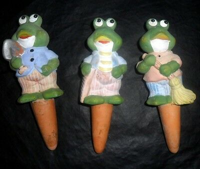 Set of Three Frog Plant Spikes Flower Pot Spikes Busy Frogs Decorative Frogs