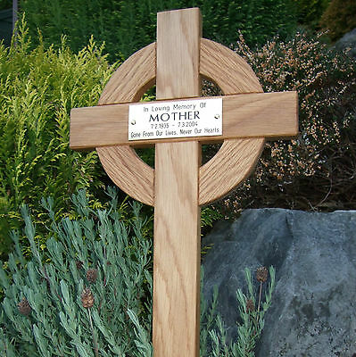 44 Inch Tall Celtic Oak Wooden Memorial Cross Wood Grave Marker Engraved Plaque