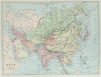 OLD ANTIQUE MAP ASIA by BARTHOLOMEW / BLACKIE c1880s 19th CENTURY PRINTED COLOUR