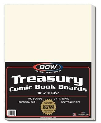 Pack of 100 BCW Treasury Comic Book Size Acid Free Backer Boards white backing