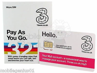 Three Micro-SIM card Pay As You Go - FREE First Class Post PAYG