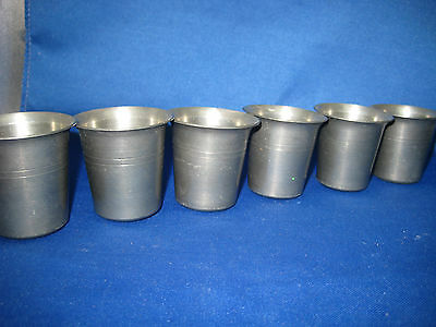Lot of 6 Antique Made in West Germany Heavy Pewter Shooters/Cups Engraved