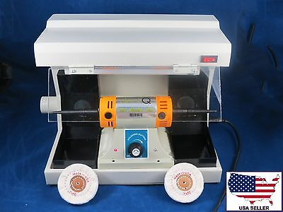Dental Lab Desk Polisher Buffer + Vacuum Case Cover + 2 Muslin Wheel 110V DentQ