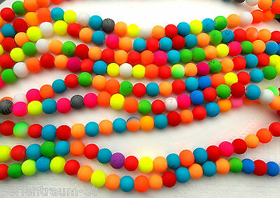 1 Strang 8 mm Glasperlen NEON Farbmix Rubber Beads