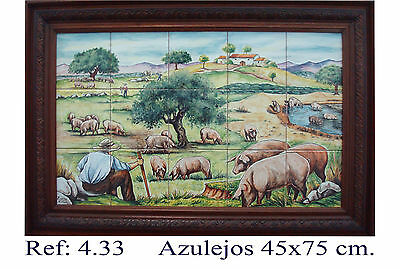 CERDO IBERICO EN CAMPO Spain  Handmade Majolica Tile Panel IBERIAN PORK IN FIELD