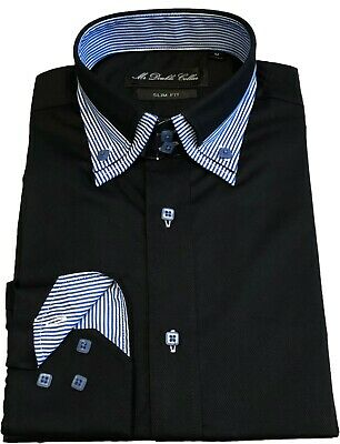 Mens Shirt Smart Casual Formal Black With Blue Double Collar Longsleeve