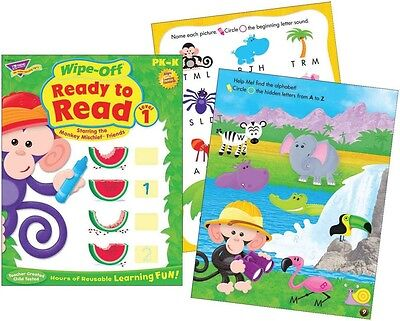 Ready to Read Level 1 Wipe Off Educational Activity Book (Monkey Mischief)