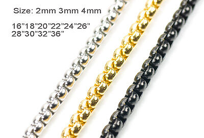 1.5mm-4mm 316L Stainless Steel  Gold Silver Black Round Box Chain Necklace