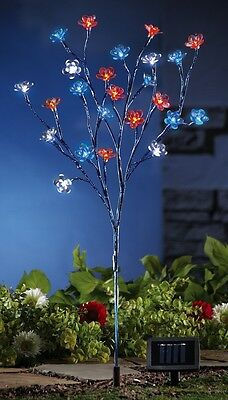 "Patriotic Solar-Lighted Red, Wh & Blue Flowers w/Metallic Stem Garden Stake 34""H"