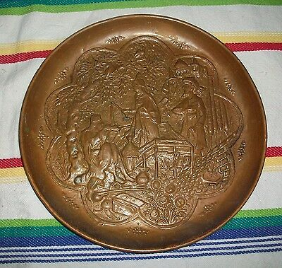 Vintage Copper Wall Hanging Embossed Persian Turkish Tray Middle Eastern Arabian