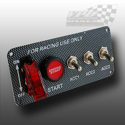 Ignition Engine start push button switch carbon fibre interior panel racing