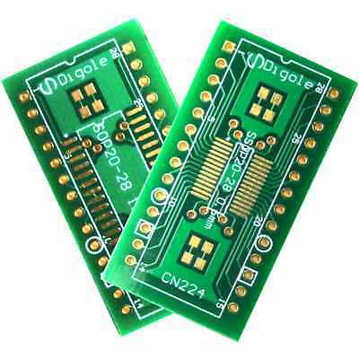 2PK SO SOP SOIC/SSOP 20/24/28 Pitch 0.6mm and 1.27mm to DIP Adapter Converter