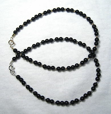 Lyns Jewelry Black Onyx Anklet Silver or Gold