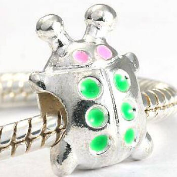 BEETLE SPACER BEAD FIT CHARM BRACELET 4 GET 5TH FREE#615