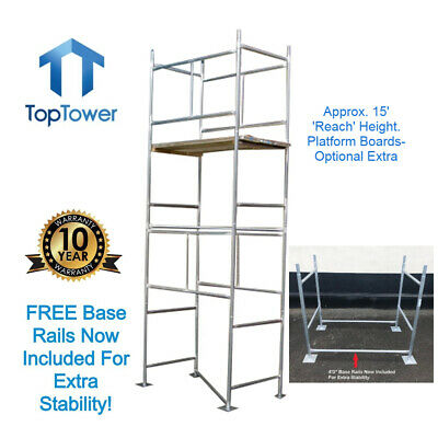 "DIY Scaffold Tower 4.65m (4'x 2'6"" x 15'3"" Working Ht) Galvanised Steel Towers"