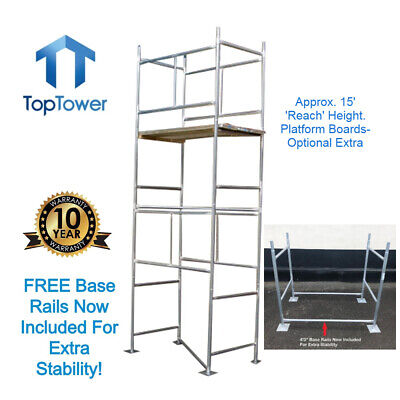 Scaffold Tower 4.65m 4x2ft 6in x 15ft Working Ht DIY Galvanised Steel Towers