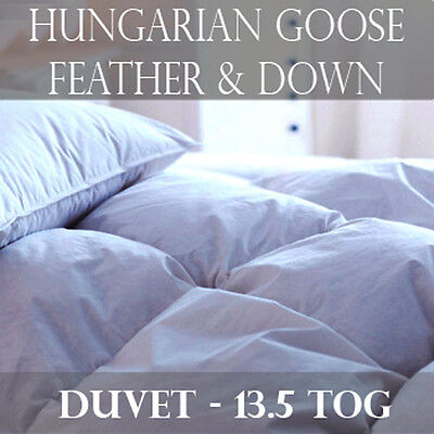 100% Luxury Hungarian Goose Feather and Down Duvet/Quilt- 13.5 Tog All Bed Sizes