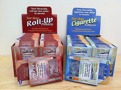 Tar Ban Filters - for ROLL UP & SHOP BOUGHT cigarettes- 9 packs of 15 filters