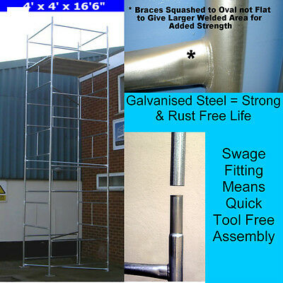 "DIY Scaffold Tower 6.9m (4' x 4' x 22'6"" WH) Galvanised Steel"
