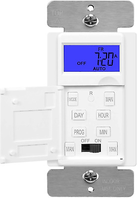 7-Day Programmable Digital Timer Socket In-Wall Outlet Light Switch