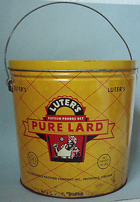 Luters Lard 4 Pound Advertising Tin W/ Black Mammy Graphic On Front And Back
