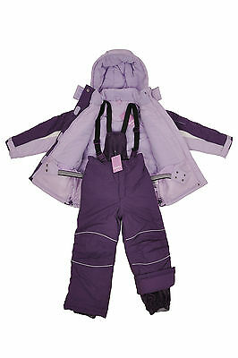 Kids Children Girls Ski/Snow Suit Jacket/Pants Purple Size 3-10 Water/Wind Proof