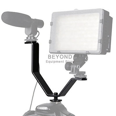 Dual Mount Y Bracket Holder for Video Lights & Microphones on Camera Camcorder