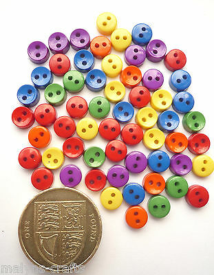PRIMARY COLOUR 6mm Craft Buttons 1ST CLASS POST Mini Baby Small Doll Tiny Clothe