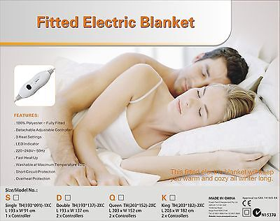 Washable Fitted Polyester Electric Blanket With Controller-Single Size