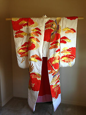 Vintage Japanese UCHIKAKE Wedding KIMONO, Embroidered gold silk Crane